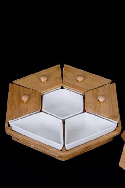 ACAR Porselen 7 Li Bambulu Kahvaltılık