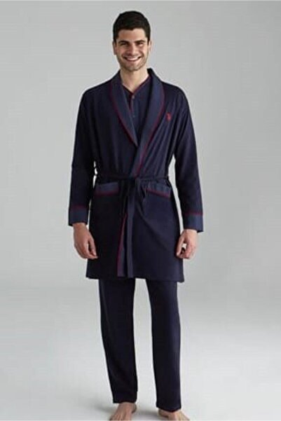 U.S. Polo Assn. Erkek Lacivert Röpteşambırlı Pijama Takımı 5'li Damat Seti 12001