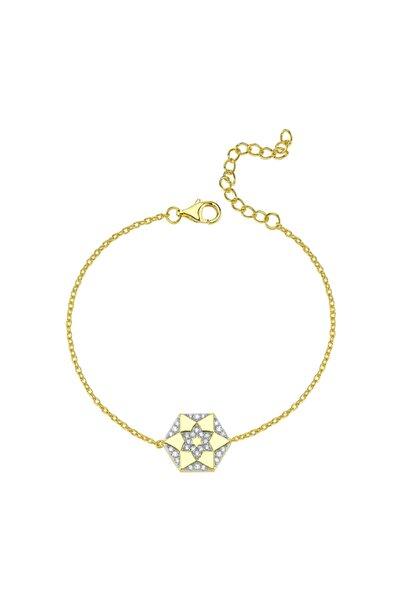 Luzdemia Kadın Gümüş Mikron Altın Kaplama Renkli Taşlı Bileklik Gold beyaz