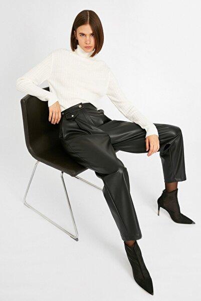 Koton Kadın Deri Görünümlü Cepli Siyah Pantolon 1kak43444ek