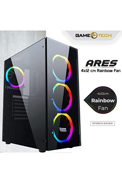 GAMETECH Ares Rainbow 4x120mm Fan Gaming Oyuncu Kasası