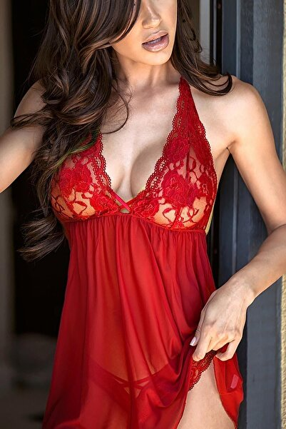 Merry See Kadın Kırmızı Şık Dantel Gecelik
