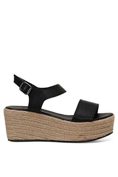 Nine West Valley Siyah Kadın Dolgu Topuklu Sandalet