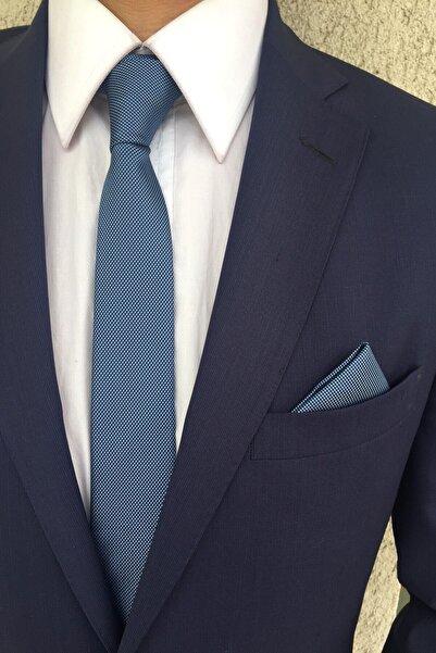 Kravatistan Açık Mavi Düz Kravat Mendil Seti