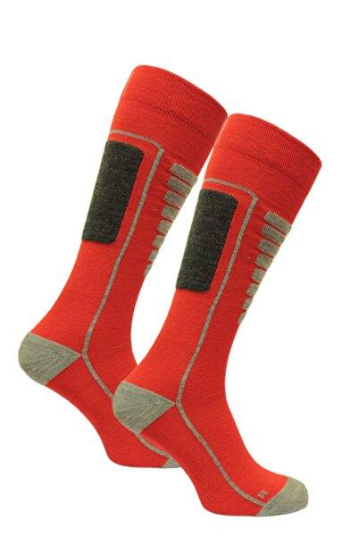 NORFOLK Unisex Kırmızı Hafif Merinos Yünü Kayak Çorabı Courchevel