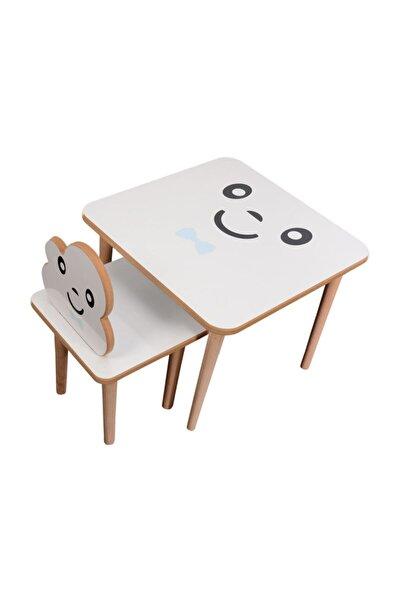 webkapinda Unisex Beyaz  Aktivite Ahşap Çocuk Masa Sandalye Takımı Bulut 1 Sandalye