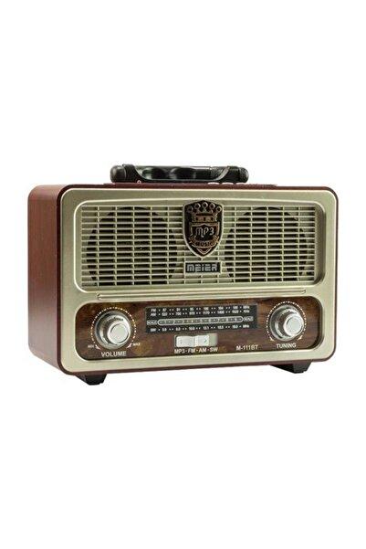Meier M-111bt Nostaljik Ahşap Retro Fm Radyo Usb Sd Bluetooth