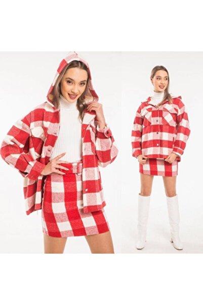 OKYANUS MODA Kadın Kırmızı Kapüşonlu Gömlek Ceket