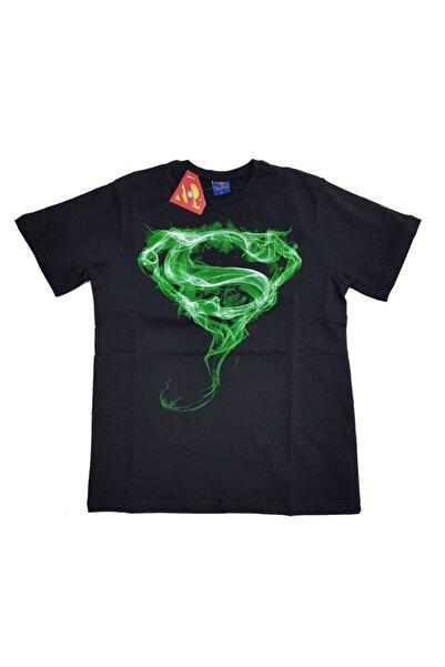 Superman Erkek Siyah Orijinal Lisanslı Tshirt yeşil Logo
