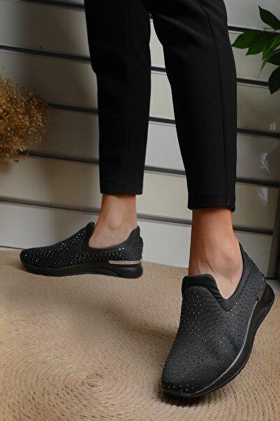 julude Taşlı Yüksek Taban Kadın Ayakkabı