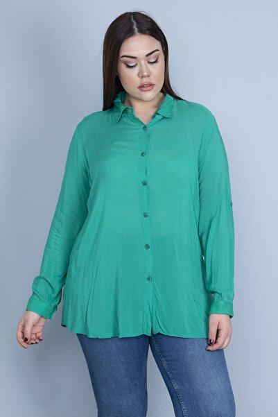 Şans Kadın Yeşil Ön Düğmeli Bluz 65N23122