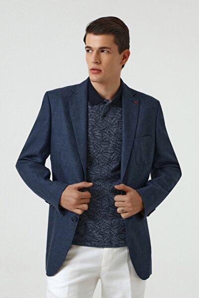 D'S Damat Ds Damat Regular Fit Lacivert Armürlü Kumaş Ceket