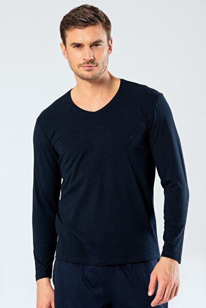 Cacharel Erkek Lacivert V Yaka Uzun Kollu T-Shirt