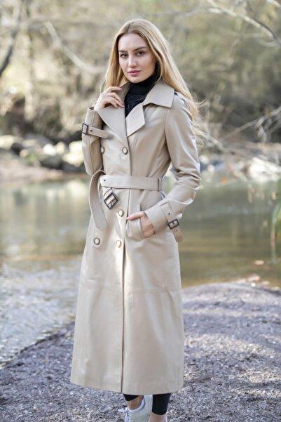 Kara Leather Fur Kadın Pardesü Deri Ceket