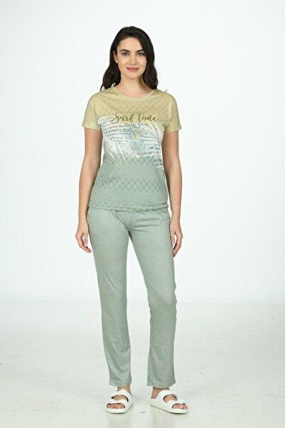 Poleren Kadın Mint Yeşili Kısa Kollu Spor Takım - Ev Kıyafeti