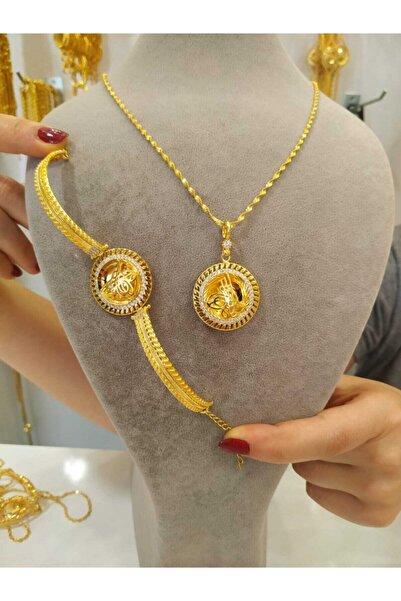 odabaş shop Altın Kaplama Tuğra Kolye Ve Bileklik