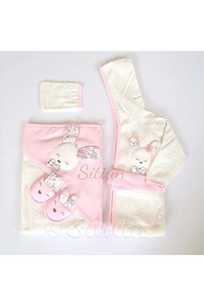 Gaye Kız Bebek Bornoz Seti Tavşan Havlu 0-3 Yaş P100826