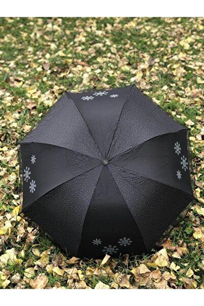 Rainwalker Rüzgarda Kırılmayan Kar Tanesi Desenli Puantiye Detaylı Siyah Kadın Şemsiye