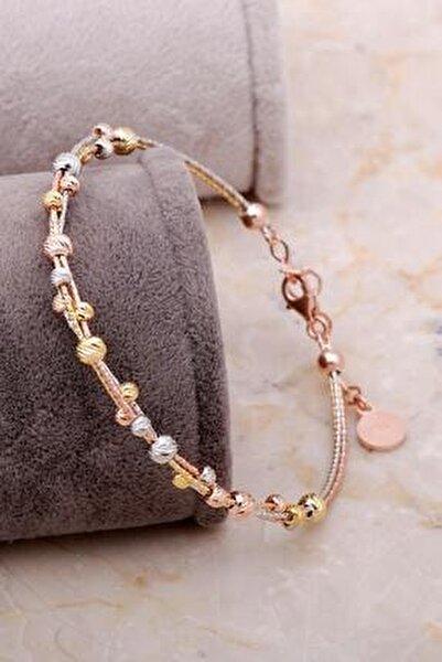 Dorissa Altın Yaldızlı Rose Gümüş Sarma Bilezik 3330