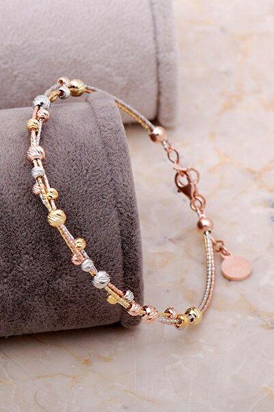 Sümer Telkari Dorissa Altın Yaldızlı Rose Gümüş Sarma Bilezik 3330