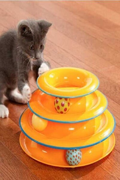 TİNEKE Tower Of Tracks Toplu Yuvarlak Kedi Oyuncağı Kedi Eğlencesi
