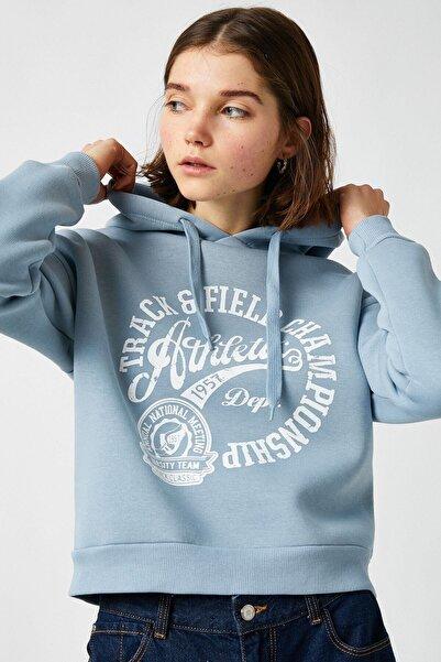 Koton Kadın Mavi Sweatshirt 1yal68008ık