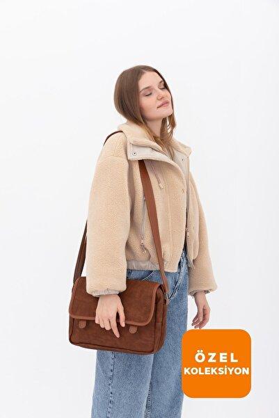 Shule Bags Nubuk Kumaş Kadın Postacı Çanta Lina Taba