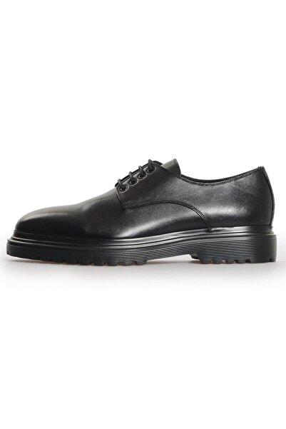 Flower Siyah Deri Bağcıklı Klasik Ayakkabı