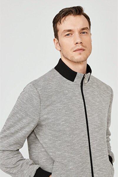 Avva Erkek Gri Dik Yaka Ribanalı Jakarlı Sweatshirt A02y1035