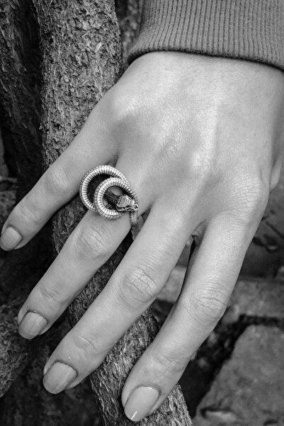 CAPO by Aytaç Yamaç Çıngıraklı Yılan Figürlü Ayarlanabilir Eskitme Gümüş Kaplama Yüzük