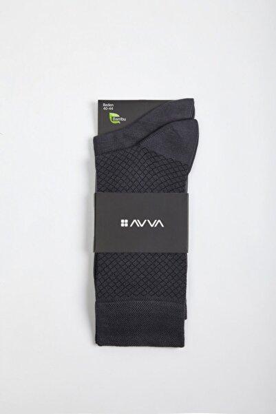 Avva Erkek Koyu Gri Desenli Soket Çorap A02y8510