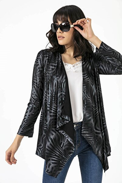 By Saygı Şal Yaka Dalgalı Desenli Kolkatlamalı Ceket Siyah