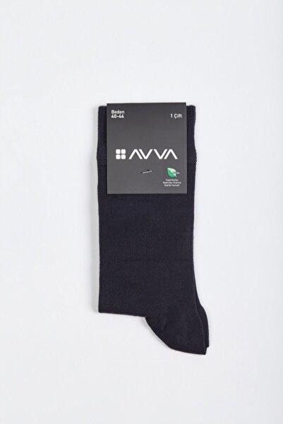 Avva Erkek Lacivert Düz Soket Çorap A02y8500