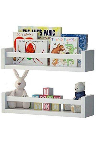 decomira Montessori Çocuk Odası Eğitici Kitaplık 2 Li Duvar Raf Set