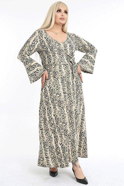1fazlası Kadın Büyük Beden Çok Renkli Kruvaze Yaka Elbise