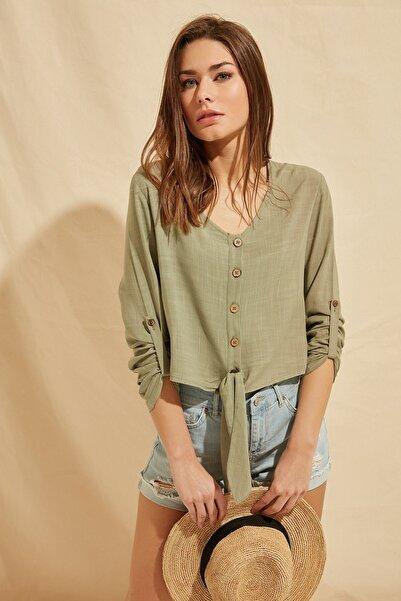ZİNDİ Kadın Bel Bağlamalı Düğmeli Bluz Yeşil