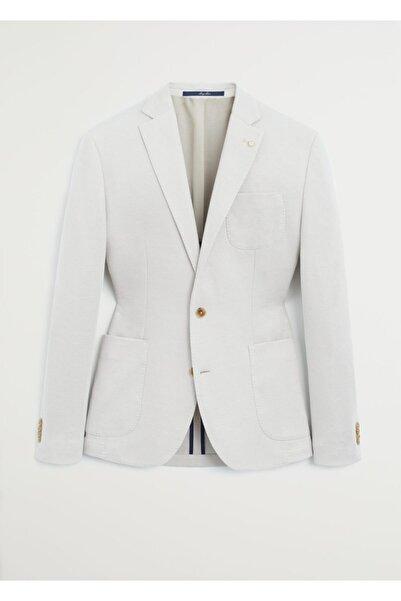 MANGO Man Erkek Bej Dar Kesimli Kalıplı Pamuklu Blazer Ceket 67025902