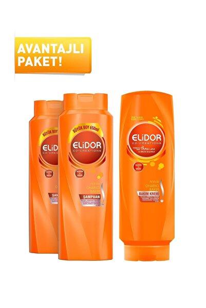 Elidor Anında Onarıcı Bakım Şampuan 650 ml X2 + Anında Onarıcı Bakım Saç Kremi 500 ml