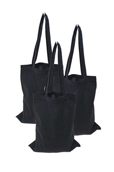 serkan çanta Baskısız Bez Çanta 35x40 Kulplu Siyah 3 Adet