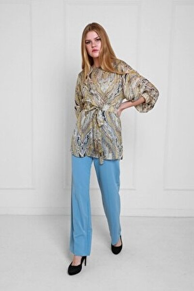 Mavi Şal Desenli Yaraşa Kol Şifon Bluz Ve Pantolonlu Set Jp36262