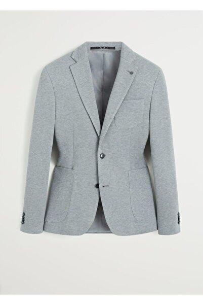 MANGO Man Erkek Gri Dar Kesimli Kalıplı Pamuklu Blazer Ceket 67040509