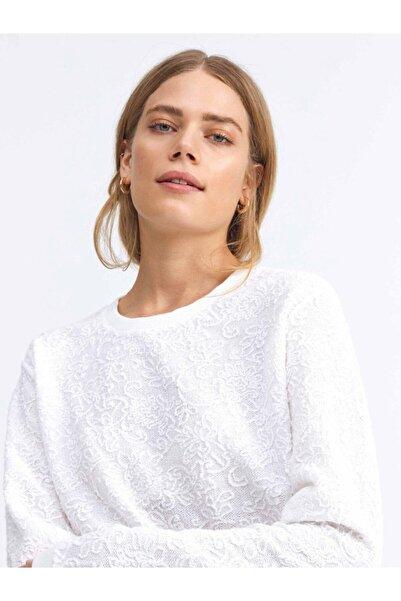Xint Kadın Beyaz Yuvarlak Yaka Pamuklu Rahat Kesim Sweatshirt
