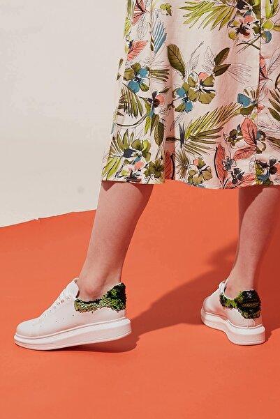 ZİNDİ Kadın Sneaker Spor Ayakkabı Beyaz/yeşil