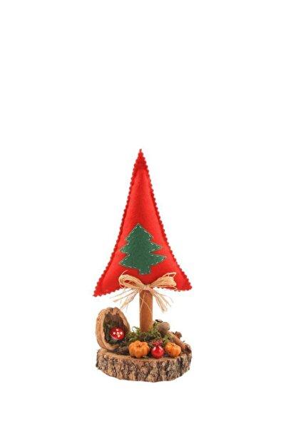 ÇIRPAN EV Kırmızı Yeşil Çam Ağacı Kütük Dekor 25cm