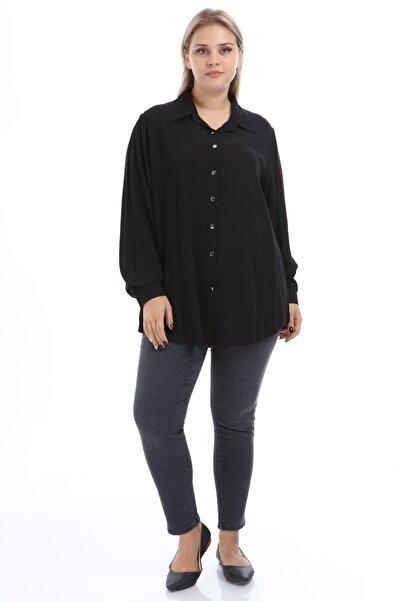 Big Free Kadın Önü Düğmeli Uzun Kollu Gömlek