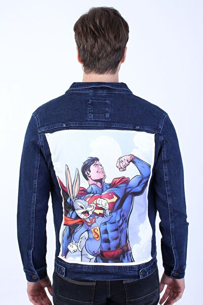 LTC Jeans Superman Baskılı Erkek Lacivert Yıkamalı Kot Ceket