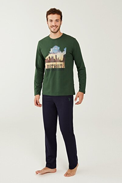 U.S. Polo Assn. Erkek Yeşil Yuvarlak Yaka Pijama Takım