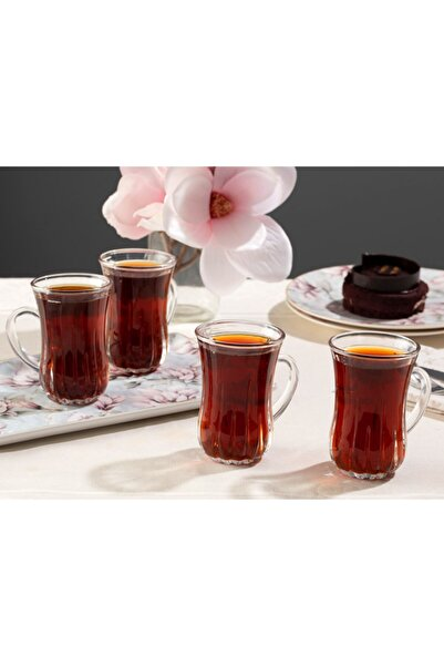 English Home Aroya Cam 4'lü Kulplu Çay Bardağı 140 Ml Şeffaf