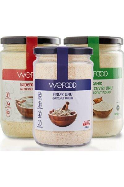Wefood Organik Hindistan Cevizi 320 gr +badem Unu 250 gr + Fındık Unu 250 gr