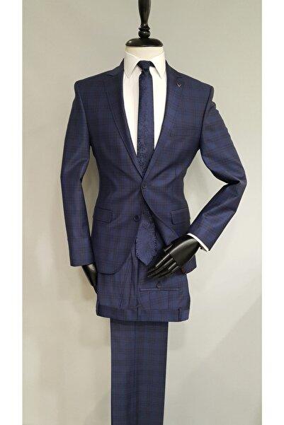 COMİENZO Parlement Mavi Ekoseli Regular Fit Yünlü Takım Elbise